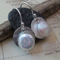 Etsy Jewelry | Silver Disk and Freshwater Coin Pearl Earrings