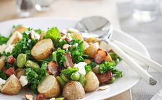 Warm potato and broad bean salad with bacon and feta recipe - By New Zealand Woman's Weekly, If you're not keen on potatoes, try using kumara instead for this delicious potato salad recipe with broad beans, bacon and feta