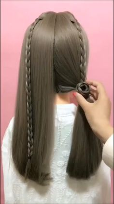 Gorgeous Hairstyle for Long Hair Easy Hairstyles For Long Hair, Braids For Long Hair, Braided Hairstyles, Girl Hairstyles, Front Hair Styles, Medium Hair Styles, Hair Style Vedio, Long Hair Video, Bride Hair Accessories