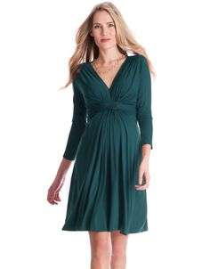 Our signature Seraphine knot front maternity dress is now available in a stylish evergreen shade. Crafted in soft stretch jersey and elegantly knotted at the empire line, this dress drapes beautifully over your curves to flatter your figure at every stage. Featuring a flattering v neckline, and chic 3/4 sleeves; this versatile maternity dress can be styled up or down for ...