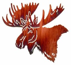 "KD-NF24WHP - 24"" North Face (Moose Head) Metal Wall Art by Kathryn Darling"