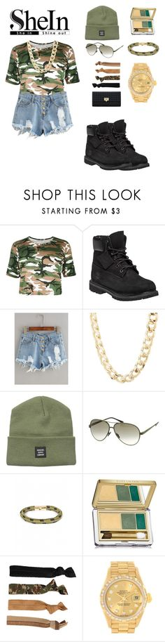 """""""Shein button shorts contest"""" by jiahbrown245 ❤ liked on Polyvore featuring Timberland, Charlotte Russe, Herschel Supply Co., Italia Independent, Towne & Reese, Estée Lauder, Glam Bands and Rolex"""