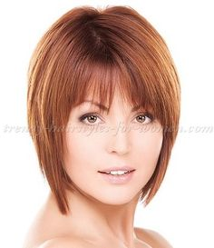 Hairstyles for fine hair with bangs - Frisuren - Cheveux Bob Hairstyles For Fine Hair, Trendy Hairstyles, Wig Hairstyles, Short Straight Hairstyles, Brown Hairstyles, Celebrity Hairstyles, Hair Styles 2014, Medium Hair Styles, Short Hair Styles