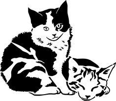Stencil Schablone 2 Kätzchen
