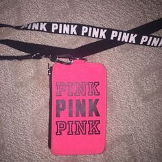 PINK ID Holder/Lanyard (read description) Pay through PayPal Only! sandravuong18@gmail.com (comment when paid and email me for shipping details) free ship if paid through PayPal. PINK Victoria's Secret Accessories Key & Card Holders