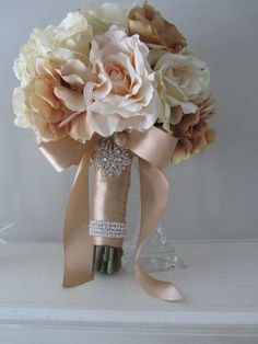 Like the ribbon around the stems it helps incorporate the latte/champagne color into bouquet Champagne Wedding Flowers, Champagne Color, Bridal Flowers, Gold Wedding, Floral Wedding, Wedding Colors, Wedding Bouquets, Dream Wedding, Wedding Day