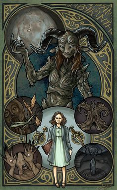 Pan's Labyrinth Art Nouveau Illustration Poster by JYungHandcrafted Art Nouveau Illustration, Digital Illustration, Kunst Poster, Arte Disney, Arte Horror, Alternative Movie Posters, Monster, Graphic, Horror Movies