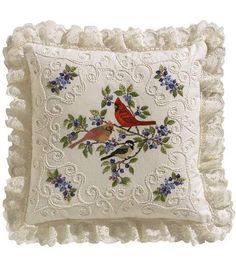 Birds and Berries candlewicking embroidery, Janlynn, Kit includes: Screen-printed 100% cotton muslin fabric, 6-strand cotton floss, candlewick thread, lace, backing fabric, needle, graph, instructions