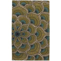 Pier 1 Imports Peacock Plume Rug - 5x8 (€240) found on Polyvore