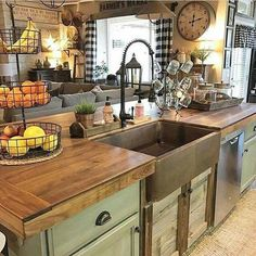 beautiful Kitchen! Wooden countertops green cabinets. Rustic. Farmhouse.