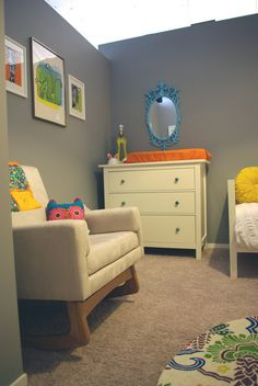 Love the grey neutral walls and the bright colored accents!