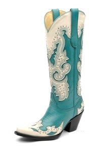 Turquoise Cowboy Boots Leather Mid Calf JUSTIN Western Flat Boots ...