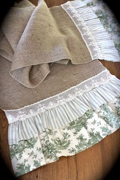 Burlap ticking and toile runner by KnightsStore on Etsy, $55.00