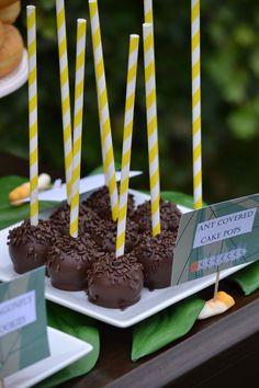 Ants on cake pops or oreo balls