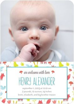 Born an outdoorsman. Give baby a woodsy welcome to the world with this cheerful birth announcement. [more at pinterest.com/eventsbygab]