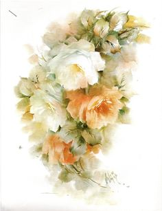 #59 Roses White & Persimmon China Painting Study by Helen Humes 1977