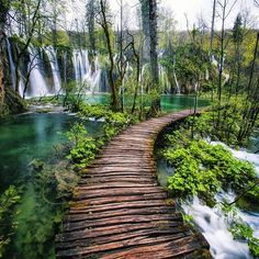 Plitvice Lakes, Croatia Waterfall Walkway by Michael Matti Places Around The World, Oh The Places You'll Go, Places To Travel, Places To Visit, Around The Worlds, Plitvice Lakes National Park, Croatia National Park, Les Cascades, Destination Voyage