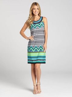 This sleeveless jersey shift dress creates a delicate look while the abstract zig-zag print adds a little complexity. With a cleo neck, this is a closet essential. Pair it with heels or flats this Spring....3010101-0833