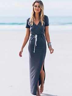 Mulheres Vestido Bainha Simples / Boho Sólido Maxi Decote V Algodão / Poliéster
