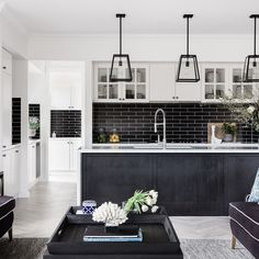 The incredible kitchen in our Hamptons-inspired Boston 36 on display at the Super Centre, Parklea. Styling by and Photography by Black And White Living Room, Black And White Design, Hamptons Style Homes, The Hamptons, Clarendon Homes, Hamptons Kitchen, Reno, Centre, Kitchen Design