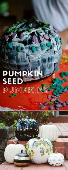 How To Decorate A Pumpkin With Dyed Pumpkin Seeds Halloween Activities For Kids, Outdoor Activities For Kids, Craft Projects For Kids, Easy Crafts For Kids, Holiday Activities, Infant Activities, Preschool Activities, Craft Ideas, Happy Mom