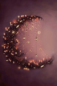 Moon and the stars.want to make some form of a crescent moon with sparkling~dangling stars. Moon Art, Pics Art, Belle Photo, Fairy Lights, Oeuvre D'art, Fantasy Art, Illustration Art, Drawings, Crafts