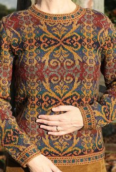 Henry VIII Pattern from Virtual Yarns, home of Alice Starmore, Fair Isle (Kauni Yarn? or similar) - I love the idea of adding beads to accent the gold colored swirls and scrolls! Fair Isle Knitting Patterns, Fair Isle Pattern, Knit Patterns, Tejido Fair Isle, Punto Fair Isle, Fair Isle Pullover, Pullover Design, Fair Isles, Cardigan Pattern