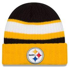 Men s Pittsburgh Steelers New Era Black Rib Start Cuffed Knit Hat 8dfd7c686