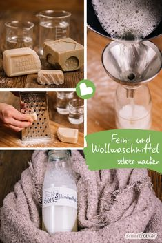 Make your own mild detergent and wool detergent - ecological and inexpensive - Making detergents is easy, cheap and ecological. A special solution is only required for wool and fine laundry. Diy Home Cleaning, Cleaning Hacks, Wc Tabs, Make Your Own, Make It Yourself, How To Make, Clean Baking Pans, Natural Cleaning Products, Tutorial