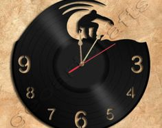 Wall Clock Surfing Vinyl Record Clock Upcycled by geoartcrafts