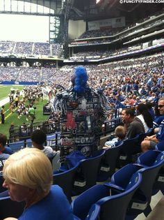 A passionate Colts fan dons colorful attire on game day in Lucas Oil Stadium Lucas Oil Stadium, Dolores Park, Passion, Exterior, Colorful, Fan, Pictures, Travel, Trips