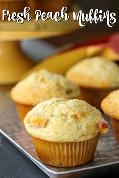 Fresh Peach Muffins from Karen's Kitchen Stories are light, fruity, and just a little sweet. They are the perfect summer breakfast treat. Peach Muffin Recipes, Fresh Peach Recipes, Fruit Recipes, Dessert Recipes, Desserts, Healthy Peach Muffins, Summer Recipes, Easy Recipes, Recipies