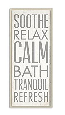 Amazon.com: Stupell Home Décor Soothe Calm Relax Bath Bathroom Wall Plaque, 7 x 0.5 x 17, Proudly Made in USA: Home & Kitchen