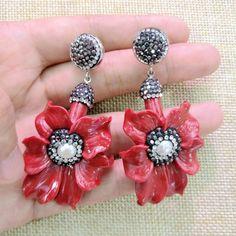 Handmade Resin Flower Dangle Earrings Women Blue Red White Big Earrings Indian Jewelry 2017 Fashion Woman Bohemian Earrings Gift #Affiliate