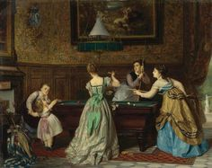 Ladies Playing Billiards Charles Edouard Boutibonne 1869