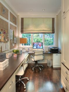 white cabinetry office, green shades, taupe board with white molding