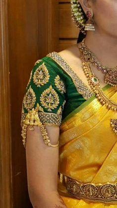 new Ideas bridal saree white blouse designs White Blouse Designs, Blouse Neck Designs, Sleeve Designs, Blouse Patterns, Wedding Saree Blouse Designs, Pattu Saree Blouse Designs, Lehenga Blouse, Wedding Sarees, Bridal Sarees