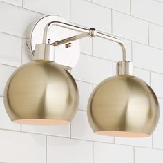 Young House Love Bubble Vanity Light - 2 Light nickel_and_brushed_brass