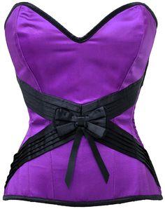 """The Violet Vixen - Seduction Embrace Violet Purple-Black Corset, $86.67 (http://thevioletvixen.com/corsets/seduction-embrace-violet/) Steel boned, satin and raw silk, formal corset also great for burlesque, cinch in 4-6"""" off your waist."""