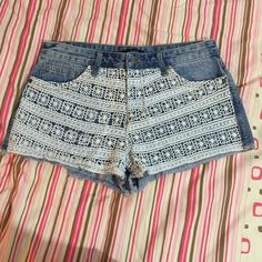 Floral denim cutoffs Very cute, not from listed brand Urban Outfitters Shorts Jean Shorts
