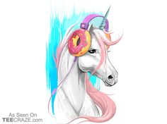 Unicorn In The Headphones Of Donuts T-Shirt - http://teecraze.com/unicorn-headphones-donuts-t-shirt/ -  Designed by NikKor    #tshirt #tee #art #fashion #TCRZ #clothing #apparel #unicorn #donut