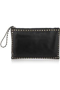 Valentino|Studded leather clutch|NET-A-PORTER.COM