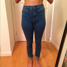 Urban Outfitters Twig Super High Rise Skinny Jean High rise skinny jeans with cut off bottoms Urban Outfitters Jeans Skinny