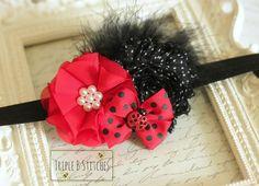 Ladybug Headband-Ladybug Hair Bow-Ladybug by TripleBStitches