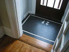 Black and white hexagonal tiles for the vestibule to your home. Entry Tile, Entry Hallway, Tile Entryway, Entryway Flooring, Oak Flooring, Hex Tile, Hexagon Tiles, Tiling, Honeycomb Tile