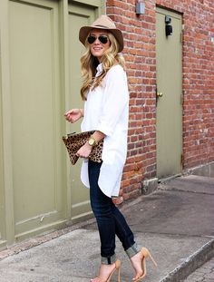 Style Cusp wears an oversized white shirt, nude accessories and leopard clutch | Shop The Story at Fashiolista.com