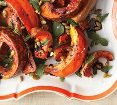 Roasted Squash with Mint and Toasted Pumpkin Seeds for Thanksgiving