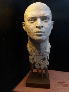 Crushed #marble & #slate bonded in #resin #sculpture by #sculptor Marc Bodie titled: 'I Write My Own Story (Noel Clarke Bust Portrait statue)'. #MarcBodie