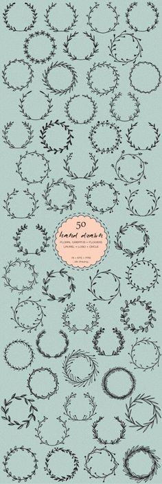 50 Hand Drawn Laurel Frame Logo Digital Clip Art  Wreaths  | Etsy