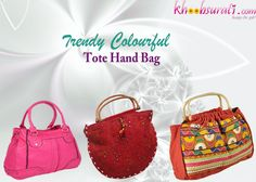 Presenting a new trendy handbag It has a smart color combination and a spectacular design.  The Pink one:- http://khoobsurati.com/aar/aar-stunning-dazzling-leather-handbag The Red one:- http://khoobsurati.com/khoobsurati/red-rajasthani-mirror-and-lace-work-hand-bag-115-khoobsurati The Orange one:- http://khoobsurati.com/khoobsurati/colourful-handmade-embroidery-work-hand-bag-128-khoobsurati